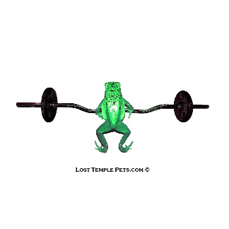 frog lifting weight, green